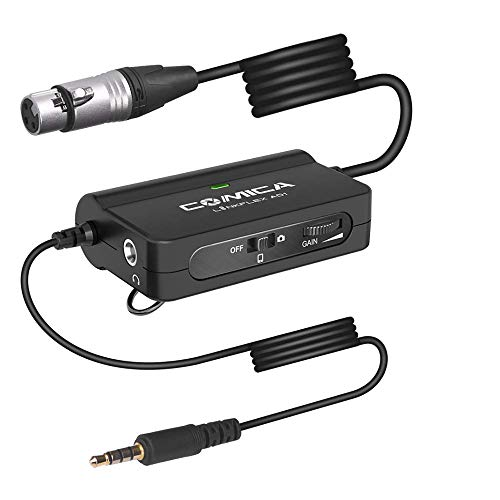 Comica LinkFlex AD1 XLR to 3.5mm Audio Adapter, with Real-time Monitoring,Stepless Gain Control, Audio Preamp Adapter for DSLR Camera, Camcorder, SmartPhones and Tablets(149 inch)