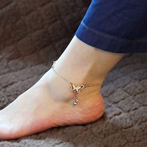 JINGRU 22cm romantischer Schmetterling Silberfarbene Fußkettchen für Frauen Mädchen Schöne Versandzubehör Hochzeitsfeier Anlass