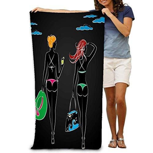 Toalla de Playa 80 X 130 Cm Bikini para niñas Una Bolsa de Playa con Otras Siluetas con H Hermosa Sexy bronceada con Sombrero Ferviente