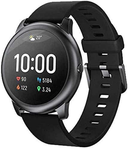 Smart Watch Sport Metal Round Case Monitor de sueño de ritmo cardíaco IP68 impermeable 30 días batería para IOS Android Negro-Negro