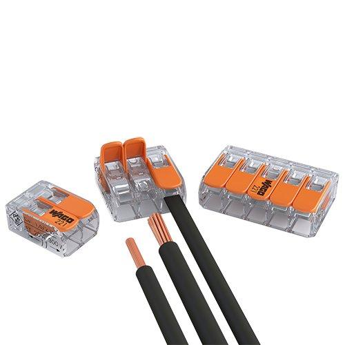 WAGO 221 Serie Set Surtido 25x 221-412 25x 221-413 15 x 221-415 Conector con Palanca de control piso nuevo Formato
