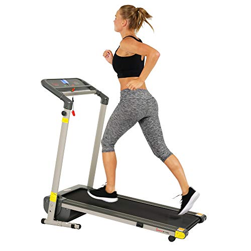 Sunny Health & Fitness Folding Compact Motorized Treadmill - LCD Display, Shock Absorption and 220 LB Max Weight - SF-T7632