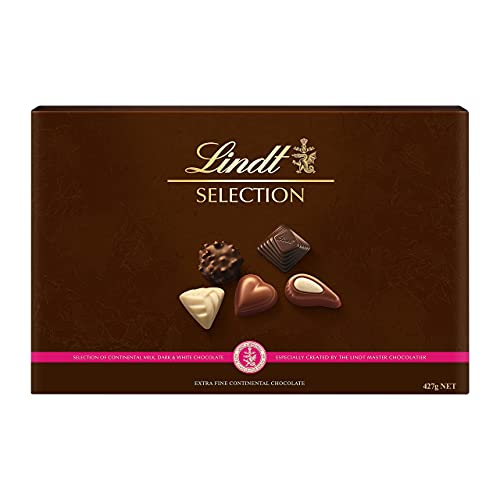 Lindt Selection Chocolate Box - 40 Pralines, 427 g - The Perfect Gift of Milk, White and Dark Chocolate