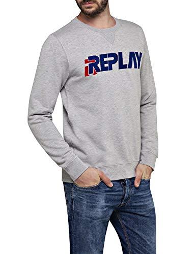 Replay Herren M3089 .000.22390P Sweatshirt, Grau (Light Grey Melange. M10), Large (Herstellergröße: L)