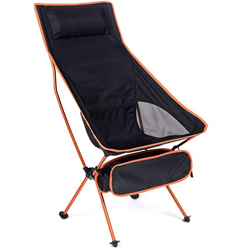 MH Zone Camping Chair with Headrest Backpacking Chair Portable Compact Ultralight Outdoor Folding Beach Hiking Chair with Carry Bag for Outdoor Beach (Orange)