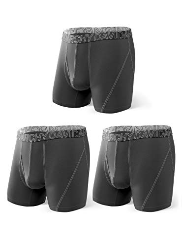 DAVID ARCHY 3 Pack Men's Ultra Soft Mesh Quick Dry Sports Underwear Breathable Boxer Briefs with Fly (M, Dark Gray)