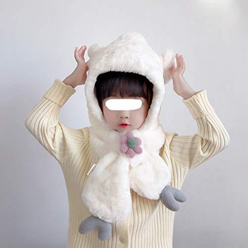 ZYSWP MZWJTZKD Sombrero Infantil, niña, protección contra el oído, Tapa de Lujo, Sombrero de otoño e Invierno, Bufanda, Gorra de una Pieza, niña Linda, Babero Caliente (Color : White)