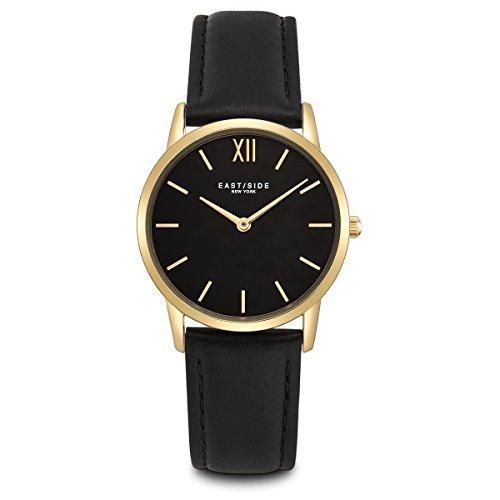 Eastside Damen Uhr analog Japanisches Quarzwerk mit Leder Armband schwarz 3 ATM 10080024
