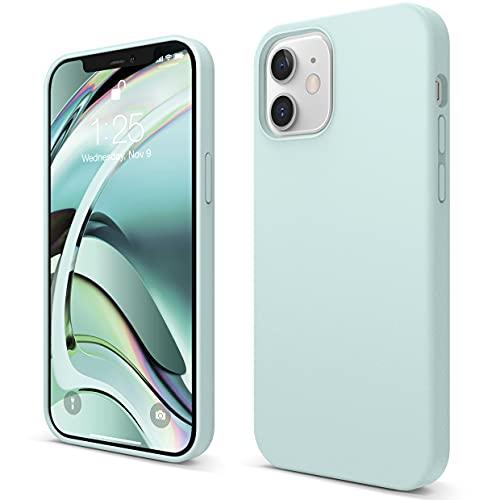 """Elago Silicone Liquido Custodia Cover Compatibile con iPhone 12 Case e Compatibile con iPhone 12 PRO Case (6.1""""), Silicone Liquido Premium, Protezione Full Body : Case Antiurto 3 Strati (Verde Menta)"""
