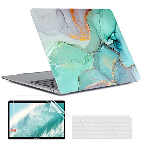 MUSHUI 4 in 1 Custodia per MacBook Air 13 Pollici 2020 2019 2018 Modello A2337 M1/A2179/A1932, Plastica Case Rigida & Tastiera Cover & Proteggi Schermo compatibile con Mac Air 13, Marmo 2