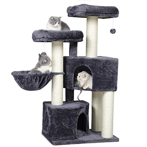 MSmask Kratzbaum groß XXL, Katzenbaum für Grosse Katzen stabil mit groß Sisal-Kratzstangen, 2 großer Aussichtsplattform (Dunkelgrau + Weiß Sisalstämme)