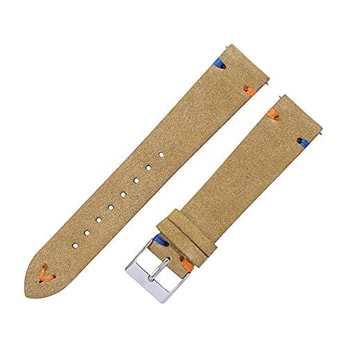 LINMAN Correa de Reloj de Cuero de Gamuza 18 mm 20 mm de Gamuza de Gamuza Cosido a Mano para Hombre Mujer Beige Verde Azul relanzamiento rápido Pulsera (Band Color : Beige, tamaño : 18mm)