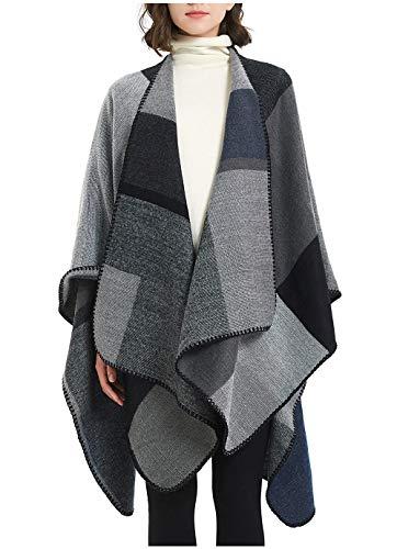 Großer Poncho mit Fransen, Retro Capes für Damen Cardigans Pullover Umhängetuch im Winter