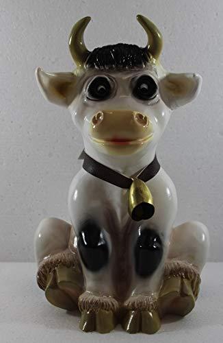 RAKSO Deko Garten Figur Dekofigur Gartenfigur Tierfigur Kuh Resi mit Glocke sitzend aus Kunststoff Höhe 31 cm