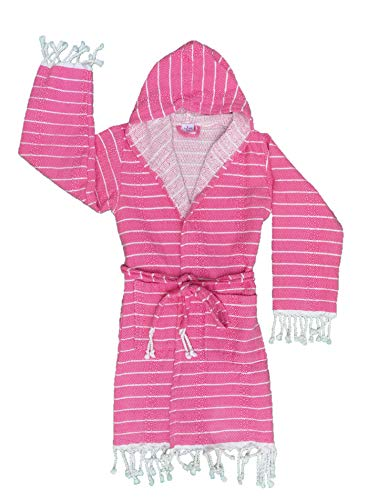 Ezgi Art Fashioned Bathrobes for Girls and Boys │ Turkish Towel, Peshtemal │ Handwoven with Bamboo and Cotton Blend │ Lightweight, Take with You to The Beach, Pool and Trips
