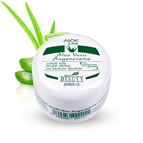 Aloe Vera Augencreme - enthält 40% Bio Aloe Vera, Sheabutter, Vitamin E, Weizenkeimöl, Hyaluronsäure, Vitamin A & Allantoin - lindert Augenfältchen & Augenringe - VEGAN / 1er Pack (1x 15 ml)