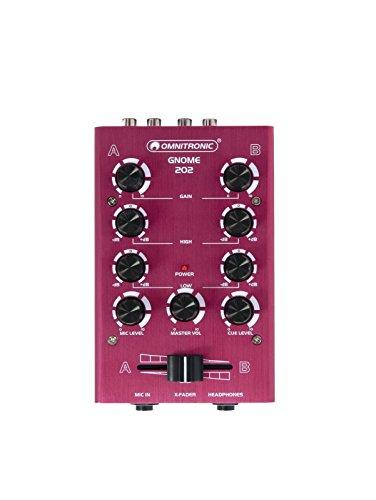 OMNITRONIC GNOME-202 Mini-Mixer rot | 2-Kanal-DJ-Mixer im Miniaturformat | Extrem leichter und kompakter DJ-Mixer | Metallgehäuse
