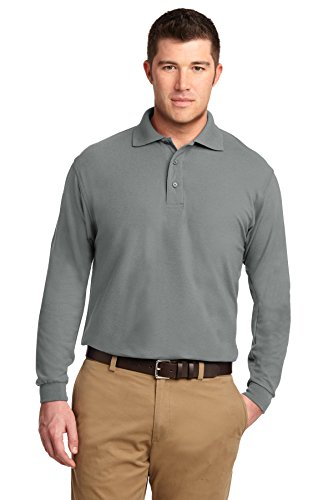 Port Authority® Long Sleeve Silk Touch™ Polo. K500LS Cool Grey 4XL