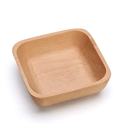 NYDZDM Assiette carrée en bois de fruit, boîte de rangement de sucrerie de sucrerie Saladière multifonctionnelle, assiette de déjeuner de plat de pain (Size : M)