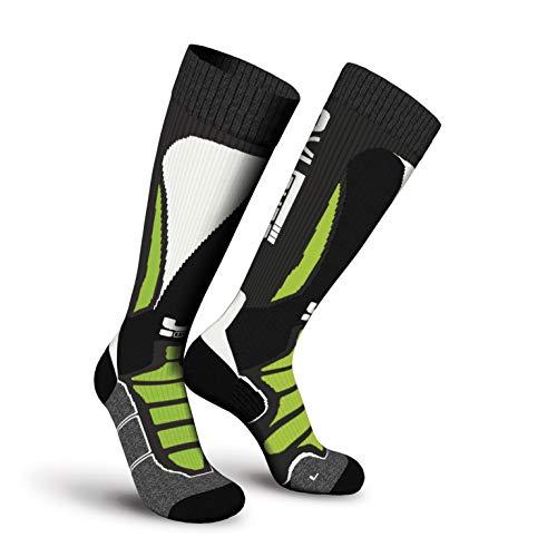 Oxyburn Ski Adrenalyn Kneehigh Energizer Chaussettes Homme, Noir/Blanc/Vert anis, Size 35/38