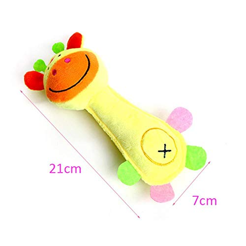 ZWQPlush Squeaky Pet Dog Toys para Perros pequeños Animal Shape Puppy Dog Chew Toy Mascotas Accesorios, Jirafa Amarilla, S
