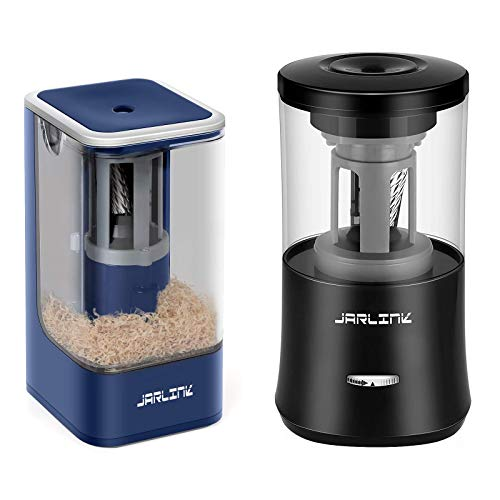 JARLINK 2 Pack Electric Pencil Sharpeners Bundle, Fully Automated Rechargeable Sharpener Fast Sharpen for No.2/Colored Pencils(6-8mm), Portable in School/Office/Home (USB Cable Include)