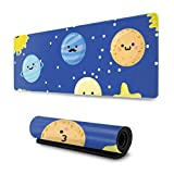 OKIJH Alfombrilla de ratón Set of Planets with Faces On Stars Large Mouse Pad 31.5x11.8 Inch Wide & Long Mouse Mat Mouse Pad for Computer/Laptop
