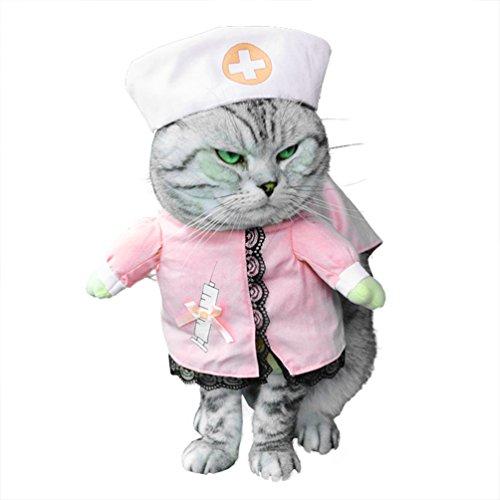 smalllee _ LUCKY _ Store pour petit chien vêtements pour filles garçons Costume Infirmière pour chat/chien avec chapeau élégant ruban toutes les saisons Noeud Rose