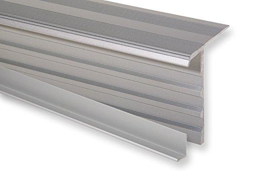 Trepsa Treppenkantenprofil Trepsa Profil 4 mit Abschluss-Clip   Aluminium eloxiert (800 mm, Silber)