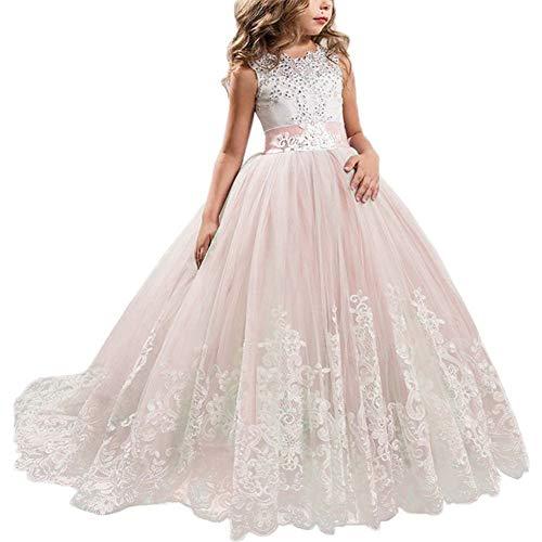 NNJXD Mädchen Spitze Applique bestickt Hochzeit Brautjungfer Prom Schule Abendgesellschaft Ballkleider Kinder Tüll Prinzessin langes Kleid. Größe (130) 7-8 Jahre Rosa