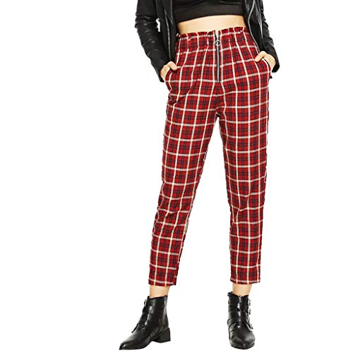 Lazzboy Women Chino Carrot Trousers High Waist Lattice Plaid Checkered Print Zipper Long Pants Ladies TrouserS8Red