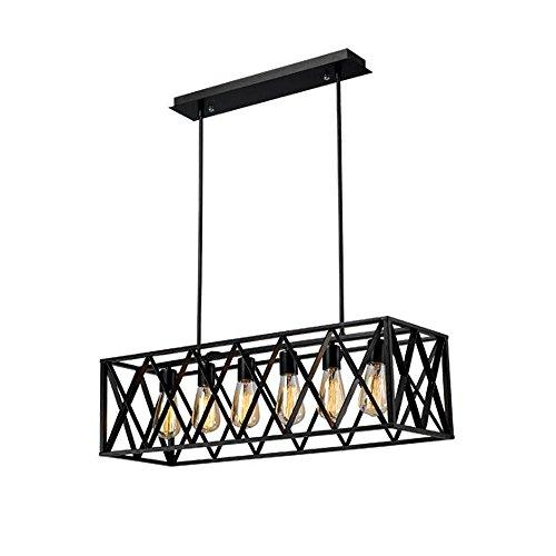 CL@ Vintage Iron Chandelier, American Loft Creative Style industriel salon Bar Cafe Iron Front Lustre E27 Lampe Taille: 63 / 78x35x84cm Lustre (Couleur : 6heads)