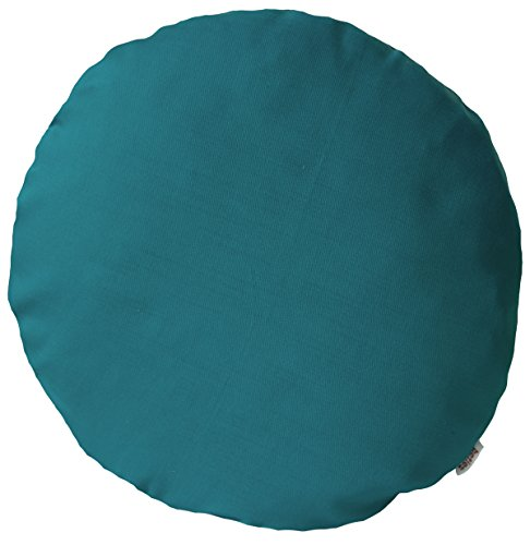 beties Farbenspiel Kissenhülle rund ca. 40 cm Ø Baumwoll-Serie in Uni (Petrol)