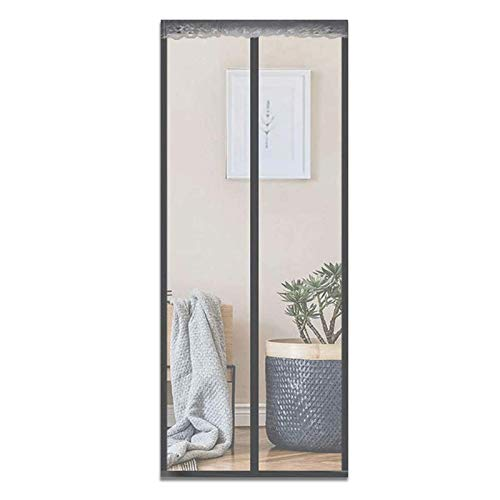 Polyester Magnetic Fly Insect Screen Door Magnetic Curtain Paste Curtains Super Quiet Stripes Encryption for Anti Mosquito or Anti Pest Magnetic Soft Door