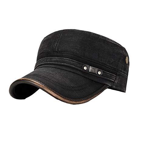 inherited Military Cap, Herren Baumwolle Army Kappe Cadet Hat, Military Army Cap, Herren Vintage Militär Mütze Verstellbar Army mütze Baumwolle Baseball Cap Kappe, Black