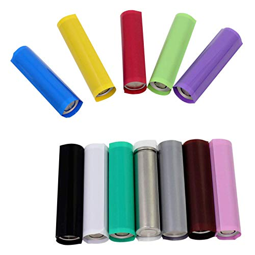 Hiyoo 240PCS Pre-Cut 18650 Battery Wraps, Flat PVC Cover Protective Rewrapping Sleeve Heat Shrink Wraps Tubing Tube Rechargeable Batteries Film with Transparent Storage Box (29.5mm 12 Colors)