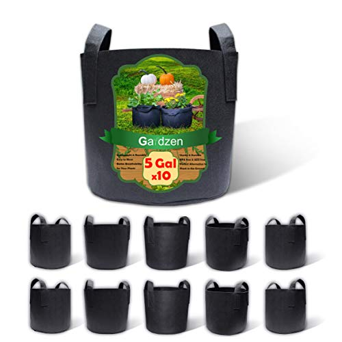 Gardzen 10-Pack 5 Gallon Grow Bags, BPA Free Aeration Fabric Pots with...