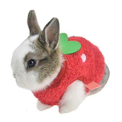 FLAdorepet Winter Warm Bunny Rabbit Clothes Small Animal Chinchilla Ferret Costume Outfits (3XS(Bust 8.6