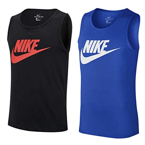 NIKE Icon Futura Tanktop Camiseta de Tirantes para Hombre, Azul, Blanco, Extra-Small