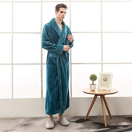 WTBI Otoño e invierno más el tamaño de franela pareja pijamas para hombres y mujeres Beibei terciopelo costuras engrosamiento y alargamiento albornoz de baño-1624-Verde oscuro masculino, XL