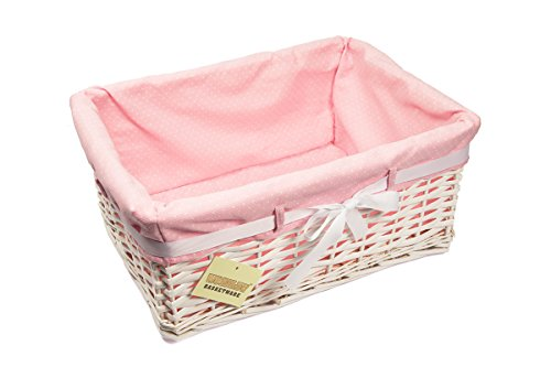 Elitehousewares - Cesta rettangolare portatutto in vimini, con rivestimento interno rosa a pois, misura grande, bianco
