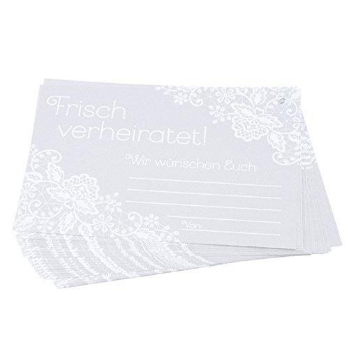 Schöne Ballonkarten Frisch verheiratet! für Wünsche an das Brautpaar an der Hochzeit, 25 St. in grau weiß