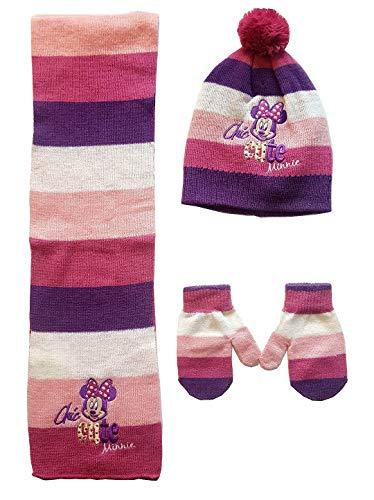 Guanti, sciarpa, berretto invernale originale, rosso, nero, bianco, rosa Minnie con pompon per bambini e neonati. Rosa 50 cm