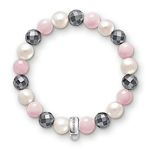 THOMAS SABO Damen Charm-Armband Hämatit Rosenquarz Süßwasserzuchtperlen 925 Sterling Silber X0188-581-7