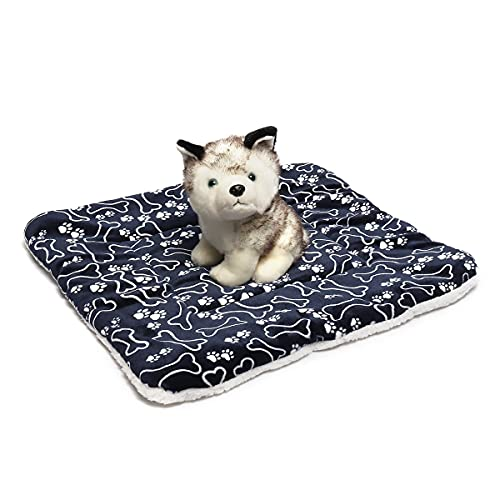 QIEP Alfombrilla de forro polar suave para perro, lavable, de doble cara, para cachorro, funda para dormir, cojín para perros, gatos y perreras (M)
