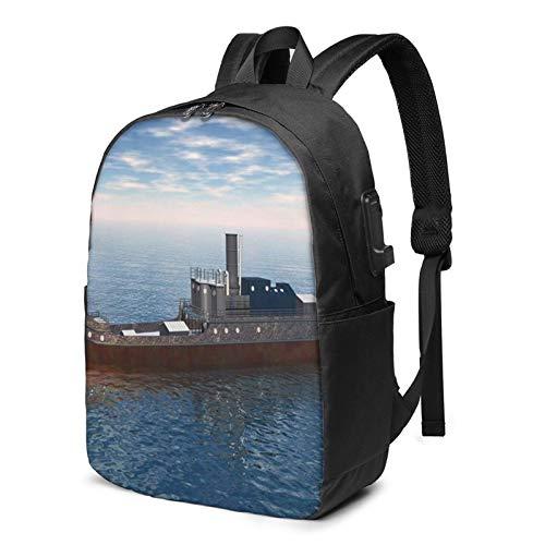 Laptop Rucksack Business Rucksack für 17 Zoll Laptop, Grafik Fracht Seefahrt Rendering Schulrucksack Mit USB Port für Arbeit Wandern Reisen Camping, für Herren Damen