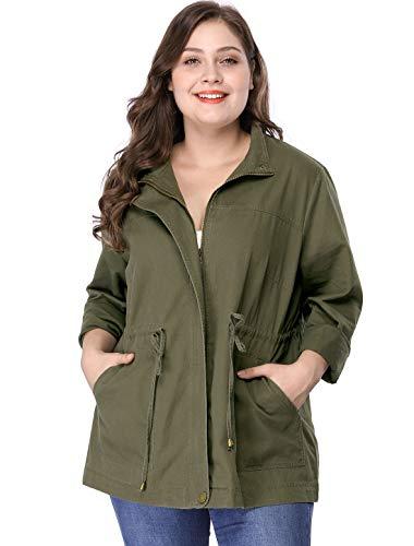 Agnes Orinda Women's Plus Size Jackets Lightweight Anorak Drawstring Utility Jacket Saint Patrick's Day 3X Army Green