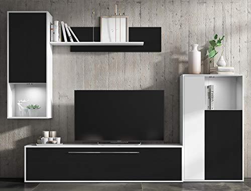 Mueble de salon Comedor modulos Estilo Moderno Color Negro y Blanco 250x210x40 cm