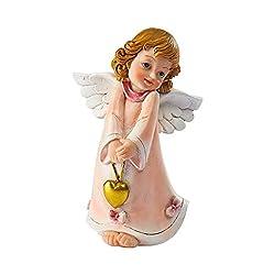Unbekannt TRI Traumwächterin Rosalie, Engel-Figur Schutzengel Dekofigur Dekoration, Engel mit Herz, Kunststein, 9,5 x 7 x 13 cm