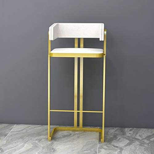 XQAQX kruk barkruk, ijzer Art Cafe Restaurant Pub Keuken Gouden barkruk, met rugleuning voetensteun, 35 * 35 * 98CM Stool